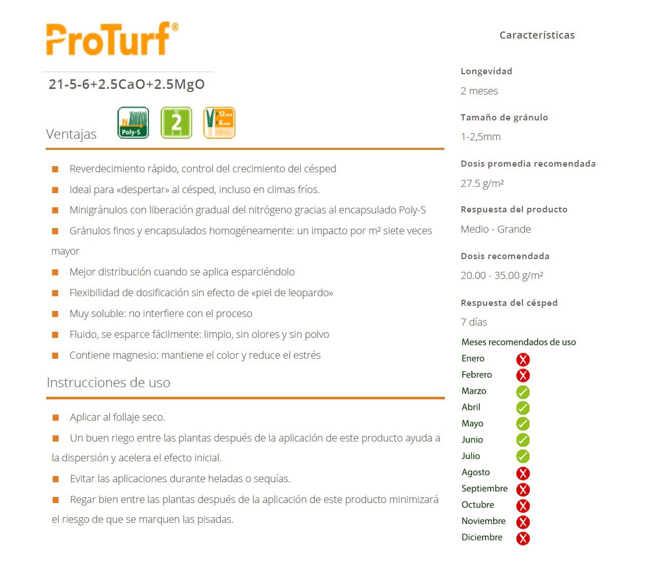 Ficha Tecnica de abono proturf de tecnicesped